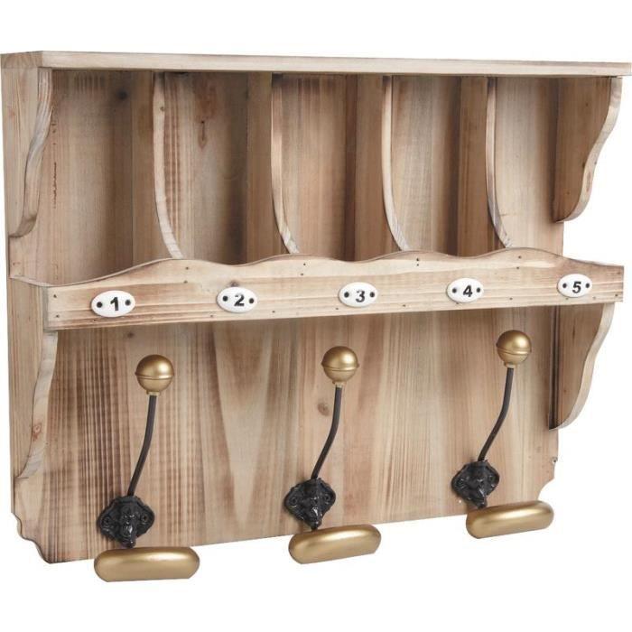 etag re murale en bois avec 3 crochets en metal achat. Black Bedroom Furniture Sets. Home Design Ideas