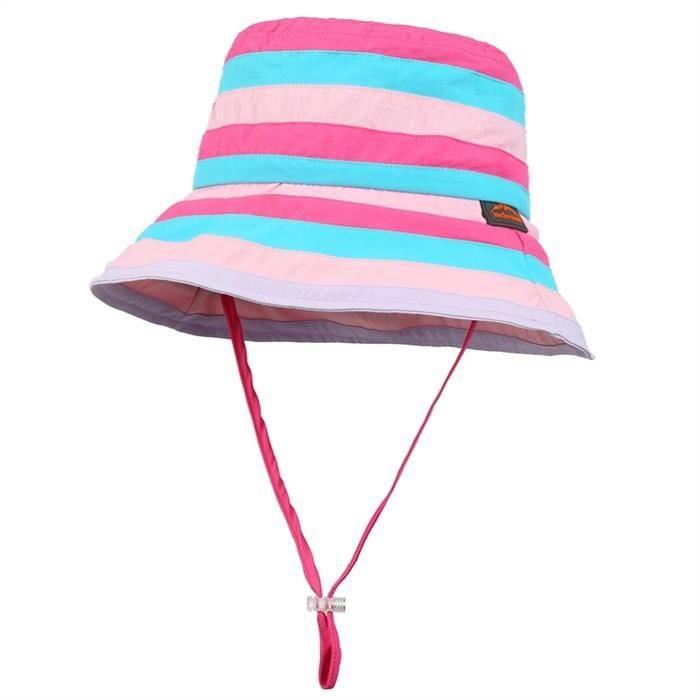 Femmes Chapeau de soleil pour la randonnée, le camping et lescalade, Motif Chic Stripe, Rosy