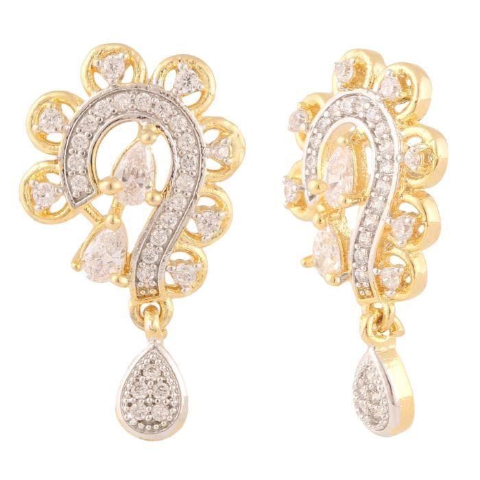 American Diamond Femmes Fleur Cz Zircon Bijoux boucles doreilles pendentif pourS2AF8