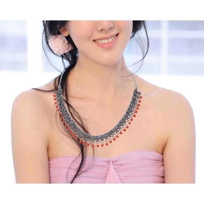 Plaqué Argent Oxydé Femmes perles Collier ras du cou pour etPY6U7