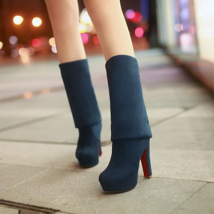 Automne nouvelles sur le genou bottes de femmes avec une paisseur de talon haut RyszLp1mM