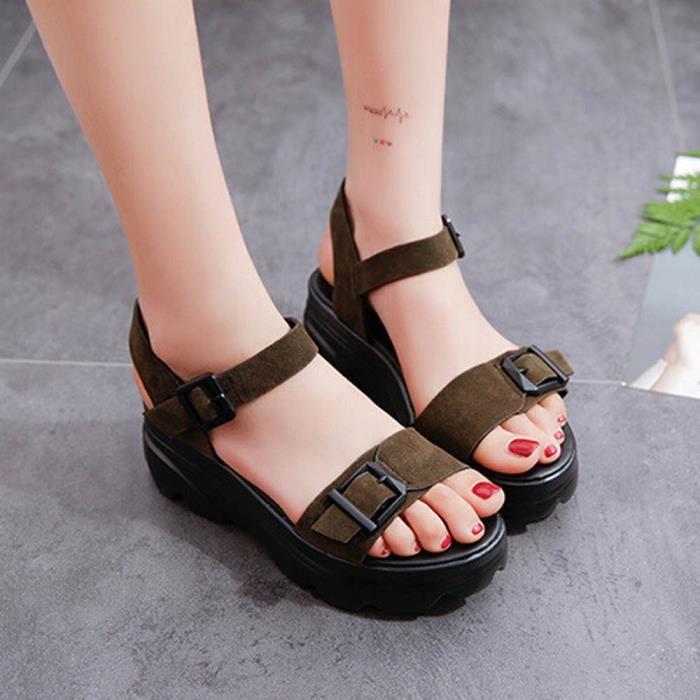 deuxsuns®Femmes Sandales antidérapantes Nouvel été plat avec sandales à bride à boucle 0TPBBfZ7