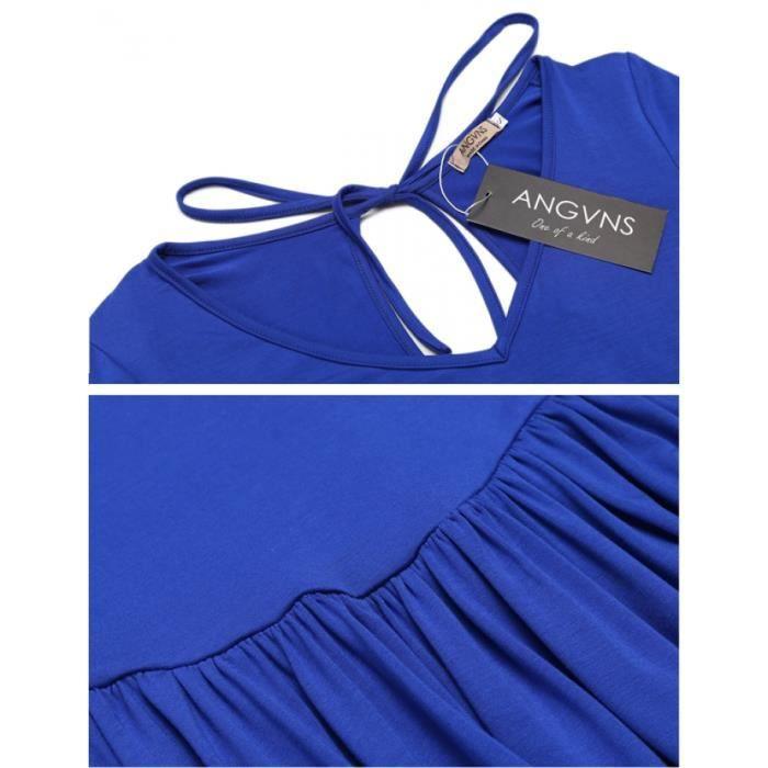 robe Femmes v-Neck Bell Sleeve Backless occasionnel robe plissée