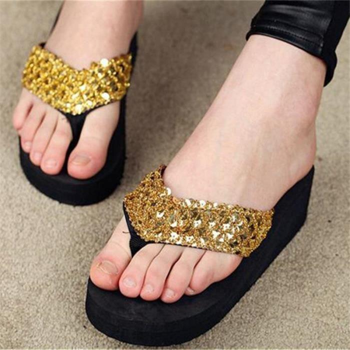 Tongs femme Chaussures tongs de luxe été plage massant nouvelle marque de chaussure femme haut talon agréable