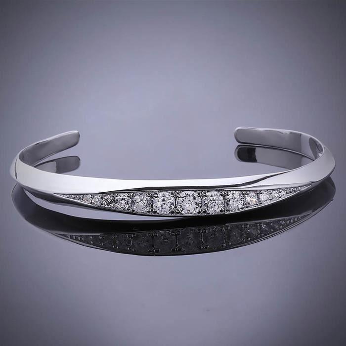 Bracelet charms et perle Argenté argent sterling 925/00 Bijou fantaisie haut de gamme Oxyde de Zirconium Femme Blanc Jonc Fidji