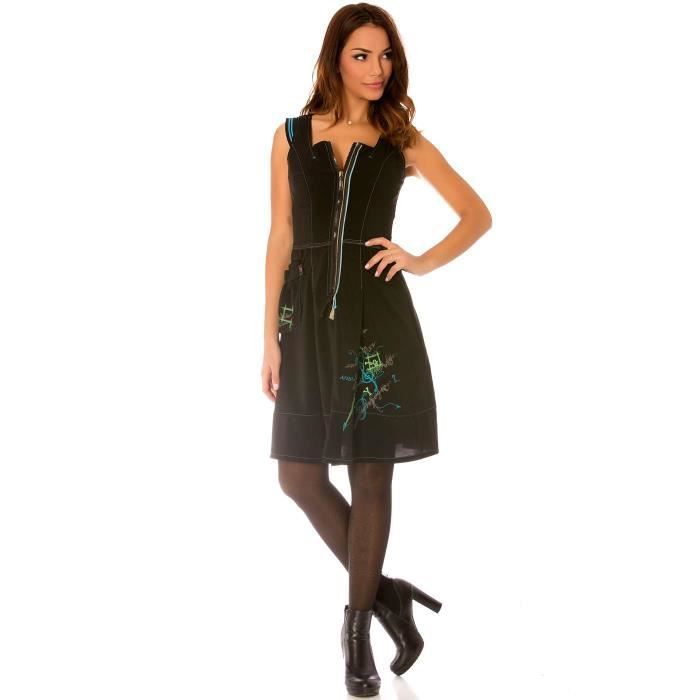 eecc689d7f8 ... Miss Wear Line - Robe noir sans manches avec motifs broder col v à  fermeture et