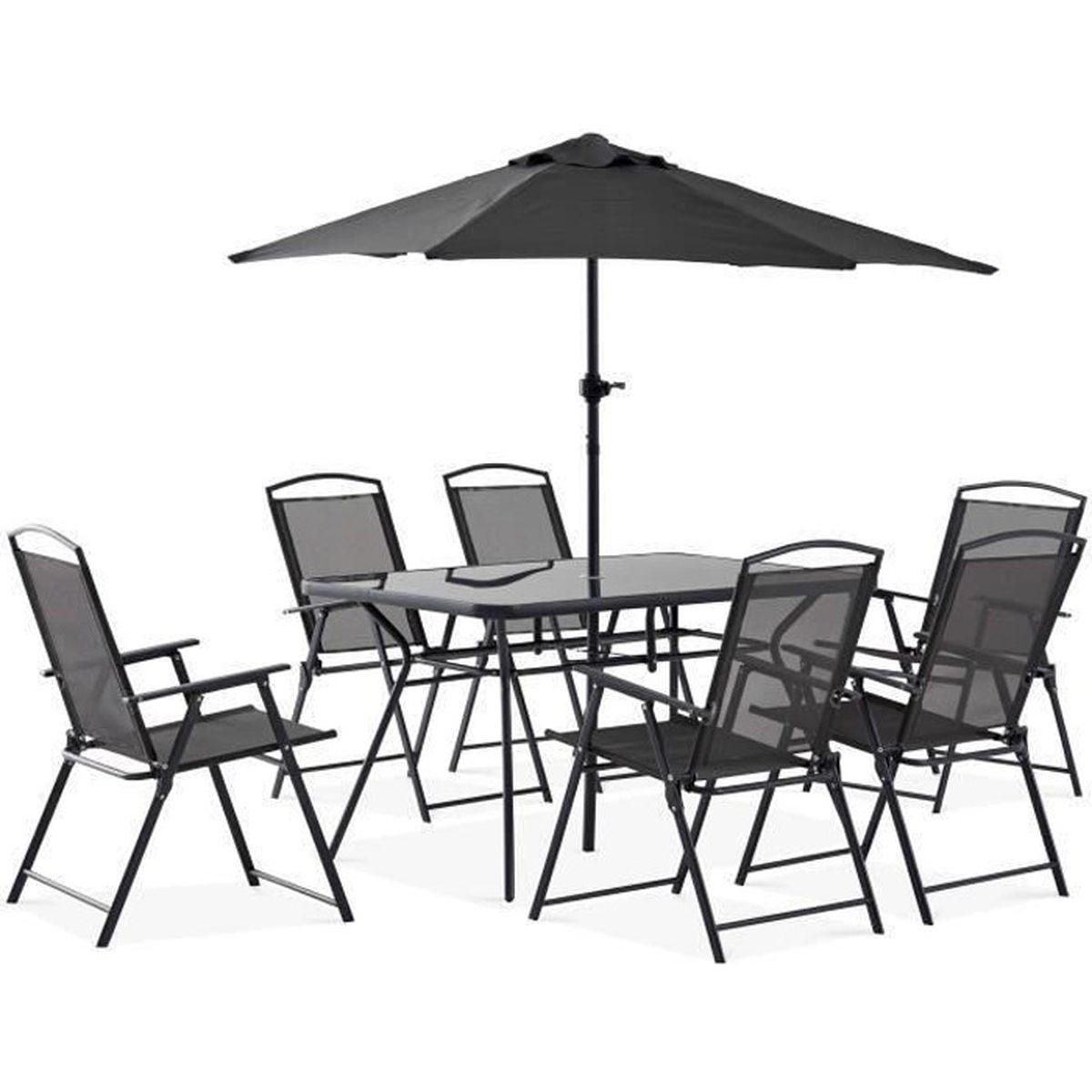ca4b04d1b6 Table et chaises de jardin 6 personnes + parasol - Achat / Vente ...