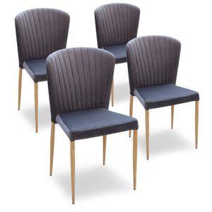 CHAISE Lot de 4 chaises en velours gris tendance et desig