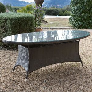 Table de jardin ovale Résine tressée cacao plateau verre ...