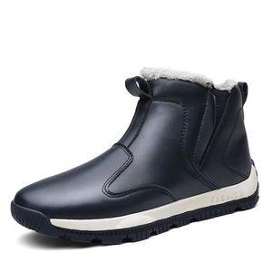 Bottes d'hiver chaussures pour hommes ainsi que des bottes de neige en coton velours chaud hommes Bleu Brown - Achat / Vente botte  - Soldes* dès le 27 juin ! Cdiscount