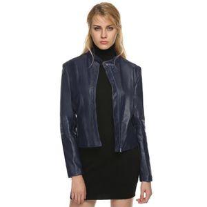 Veste cuir femme bleu marine