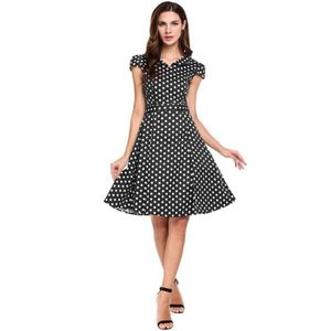 33dc0043afb ROBE Femmes Robe à pois Vintage Style col v Cap manches