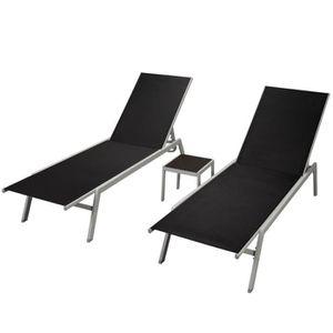 VidaXL Chaises longues avec table Textilène Noir - Achat   Vente ... 5404a241807e