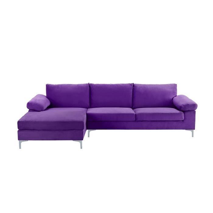 canapé d'angle large et moderne 5 personnes - tissu velours