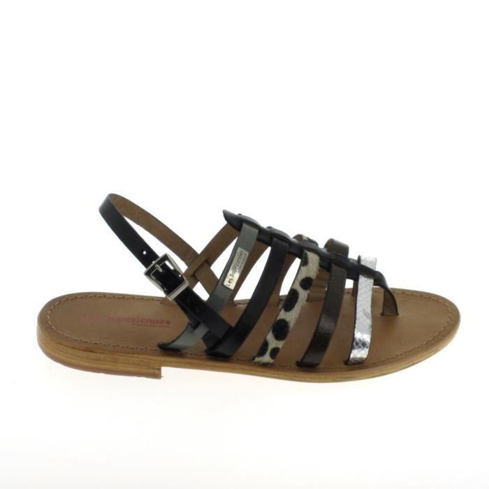 Nu pieds et sandales LES TROPÉZIENNES Harpe Noir Multi