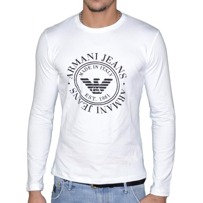 67aa7f536058 ARMANI JEANS-Tee Shirt ARMANI JEANS Homme Manches Longues T6H43 Blanc