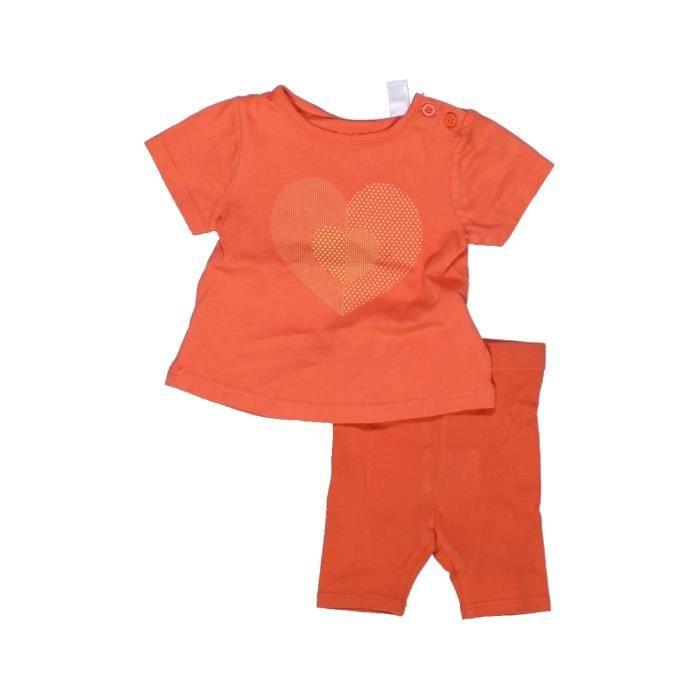 Ensemble bébé fille OKAIDI 3 mois orange hiver - vêtement bébé  1013011 adbe4d622df