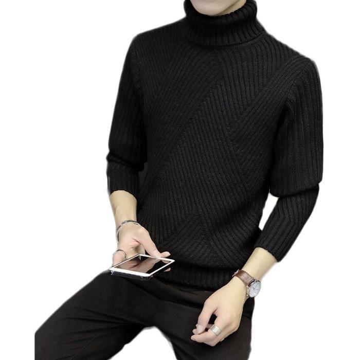 93762851350a5 Pull à col montant homme De laine de Bordures côtelées contrastantes À  Manches Longues Vêtement Masculin