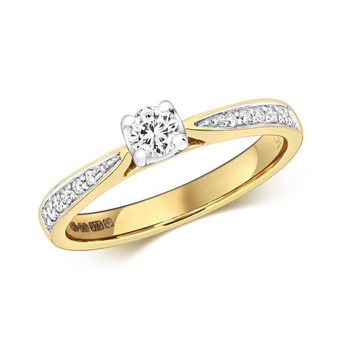 Bague Femme Solitaire Fiancailles Or 375-1000 et Diamant Brillant 0.32 Carat H - I1 30524