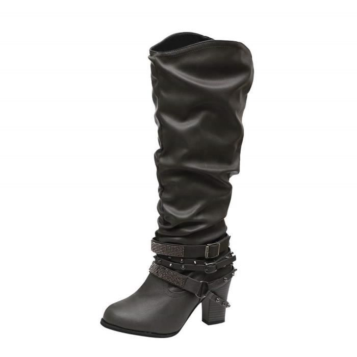 64cf46b41f8149 Bottes Botte Cuir Femme Ankle Boots Bottine Marron Chaussure Plate Femme  Bottines De Mode Bottines Chaussures De Haut Talon RéTro