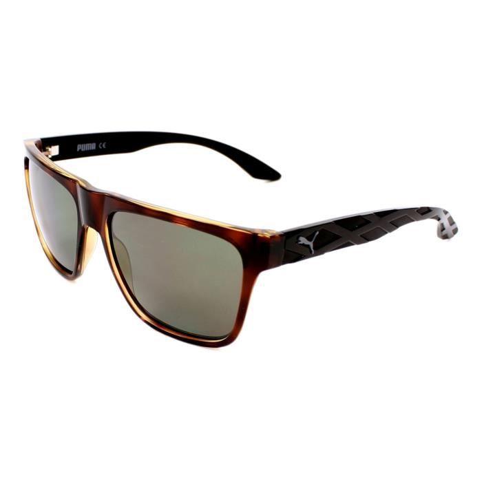 48222028be9 Lunettes de soleil Puma PU0008S -3 Marron transparent - Noir Marron  transparent - Noir - Achat   Vente lunettes de soleil Homme Adulte Marron -  Cdiscount