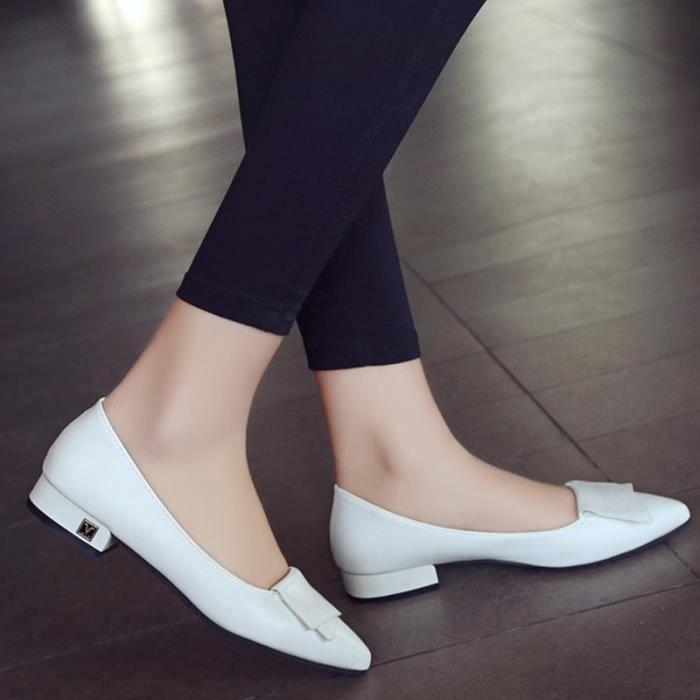 Chaussure Femmes Printemps Été Comfortable Faible Talon Chaussures BCHT-XZ069Blanc34