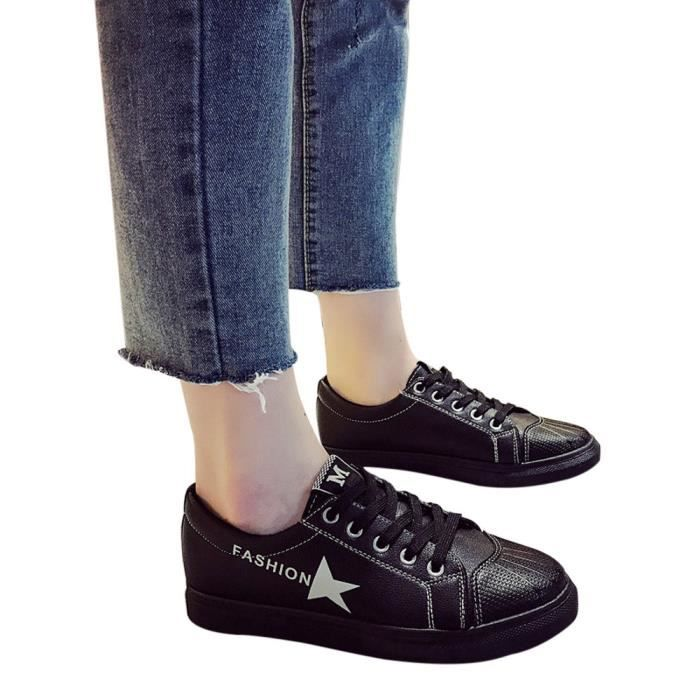 Soft Leather Sneakers Shoes Noir Sports Sole Casual Slip Breathable on Femmes Reservece wI5Cqq