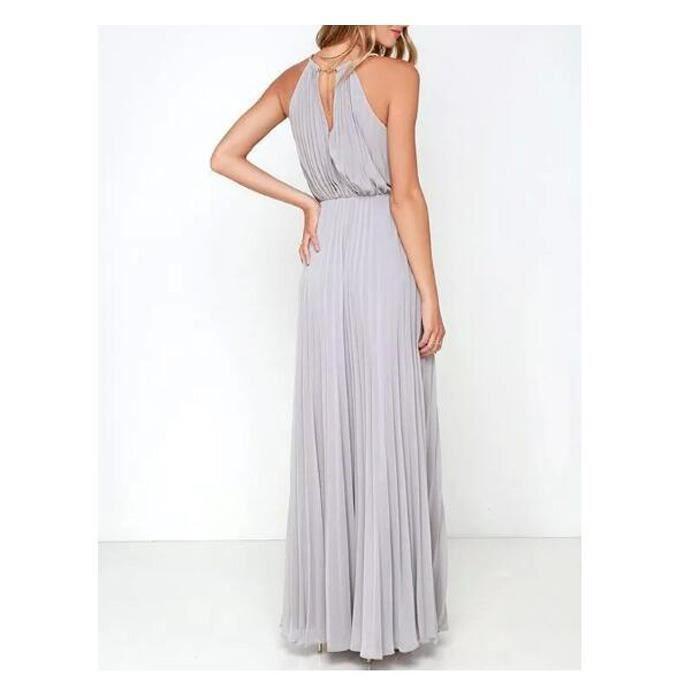Nouvelle mode de style européen féminin pression robe licou Robe plissée Slim