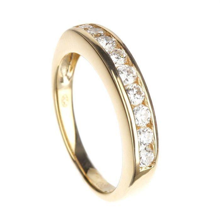 taille 40 99bea 39b73 MONTE CARLO STAR - Demi-Alliance en Or Jaune 18 Carats et Diamants Sertis  en Rail - Femme