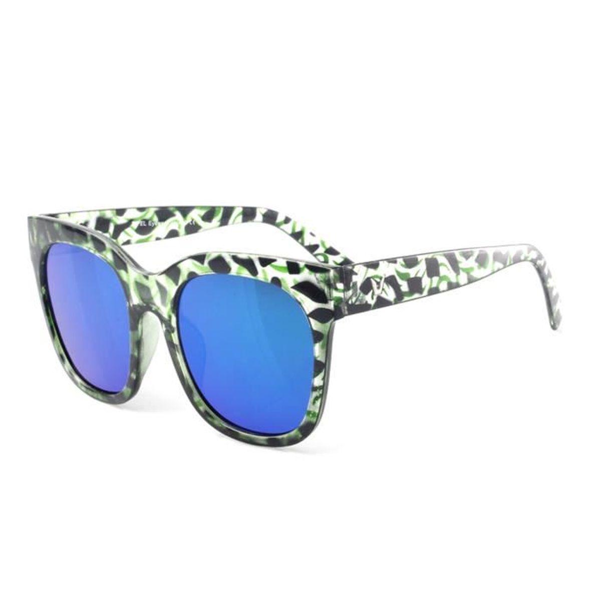 Accessoryo - surdimensionnées impression abstraite clair vert lunettes de soleil cadre des femmes avec des verres miroir Ek6ATSl0