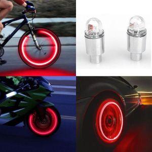 DÉCORATION DE VÉLO 2pcs LED pneus Caps tige de valve Neon Light Auto