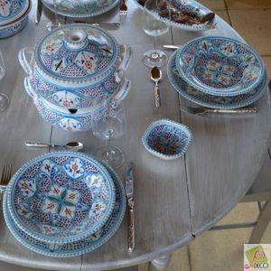ASSIETTE Lot de 6 assiettes plates Marocain turquoise - D 2