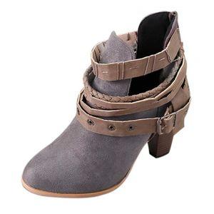 BOTTINE Femme Bottes à Clous Martin Bottes Mode Chic Ankle