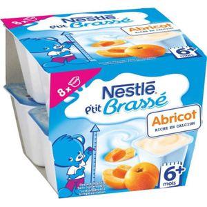 DESSERT LACTÉ NESTLÉ Ptit Brassé Abricot - 8x100 g - Dès 6 mois