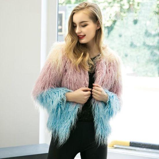Longues Mode D'extérieur Cheveux Manteau nbsp;violet Femmes Veste Manches Longue AOqxv