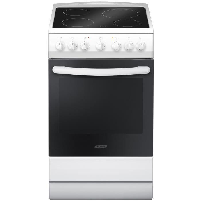 CURTISS PCV560 - Cuisinière vitrocéramique 4 foyers-Four électrique-67 litres-Classe A-L 50 x H 60 c