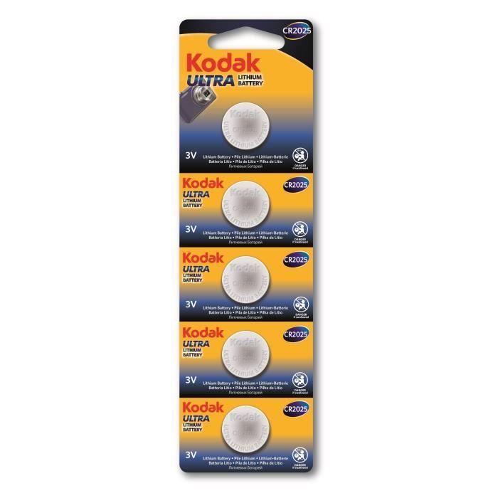 KODAK Piles bouton Ultra lithium CR2025 3V batterie - Vendu par lot de 5