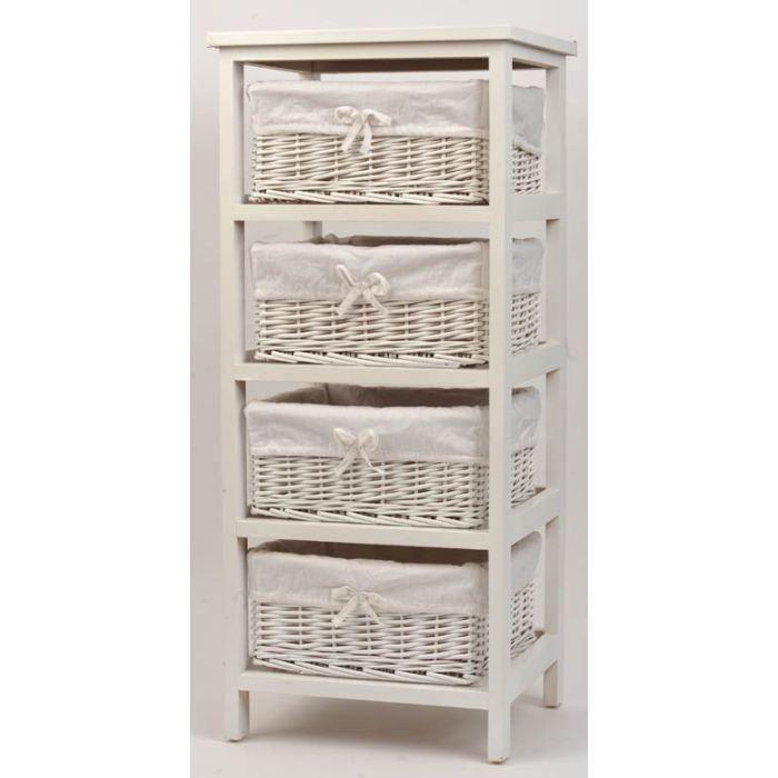 meuble bois et 4 paniers en osier achat vente petit meuble rangement meuble bois et 4. Black Bedroom Furniture Sets. Home Design Ideas