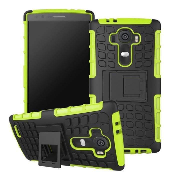 Gel Heavy Duty robuste à deux cas de couche avec Béquille pour LG G4 Vert _POI7124920