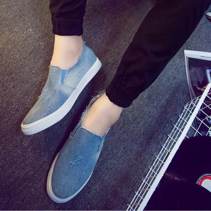 Lavés chaussures de toile de denim pour hommes pour aider à bas chaussures plates 42 verges