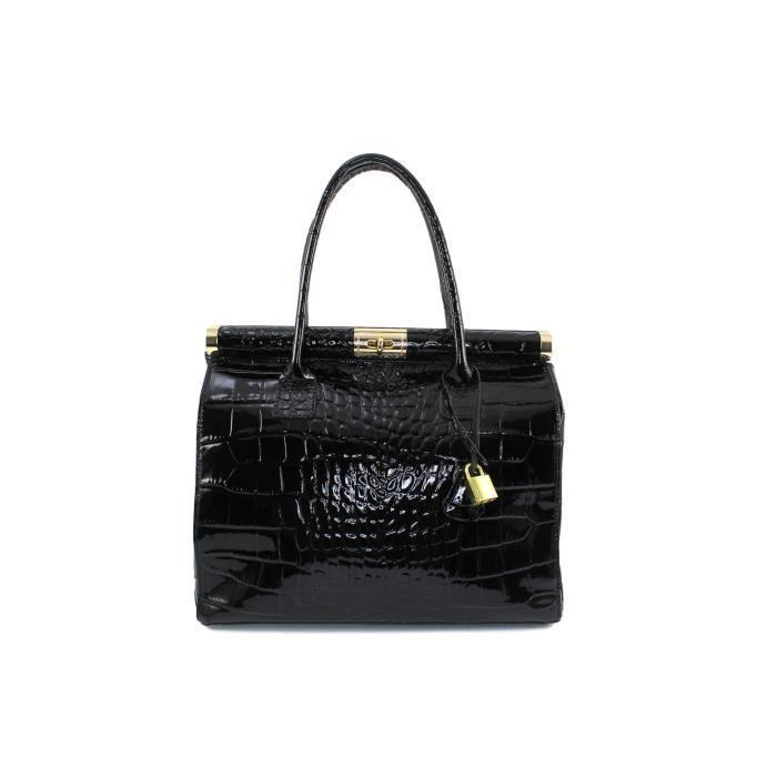 9277816d32 Sac cuir verni femme Perlina Italie - Couleur:Noir - Achat / Vente ...