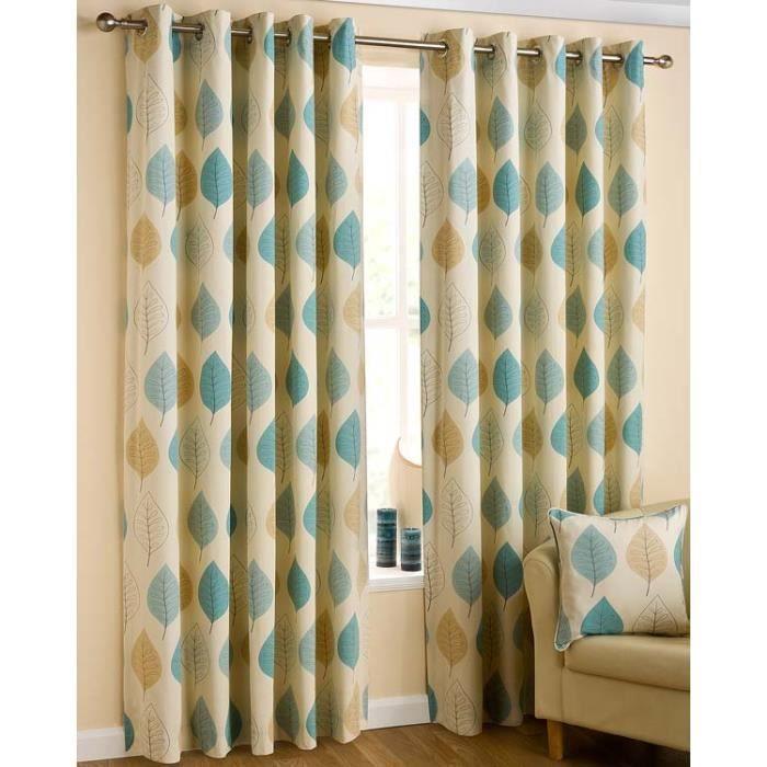 rideaux oeillets feuilles bleu et jaune 100 coton 117 x 182 cm achat vente rideau. Black Bedroom Furniture Sets. Home Design Ideas