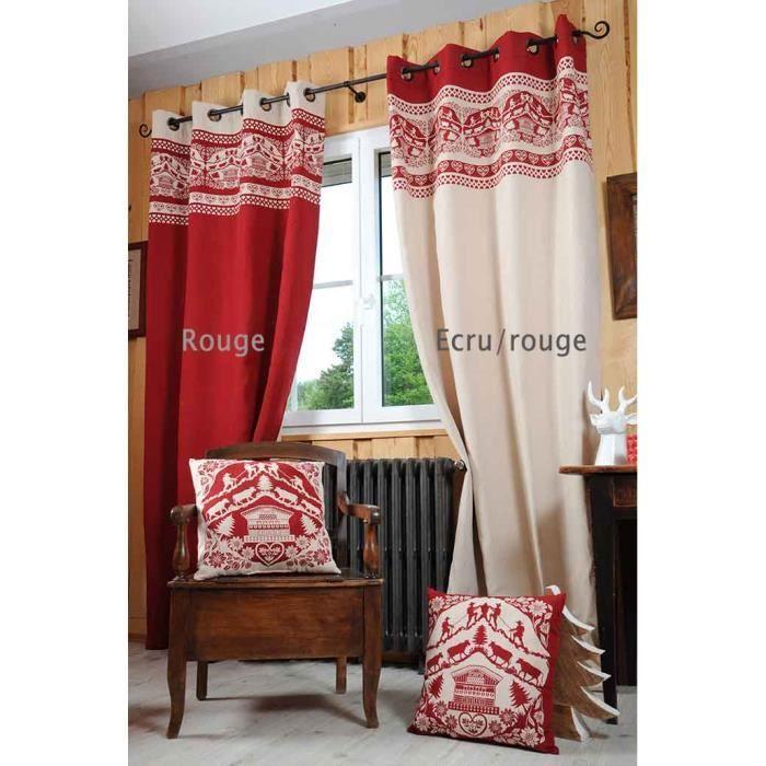 rideau esprit chalet ecru rouge 135 x 260 cm achat vente rideau cdiscount. Black Bedroom Furniture Sets. Home Design Ideas