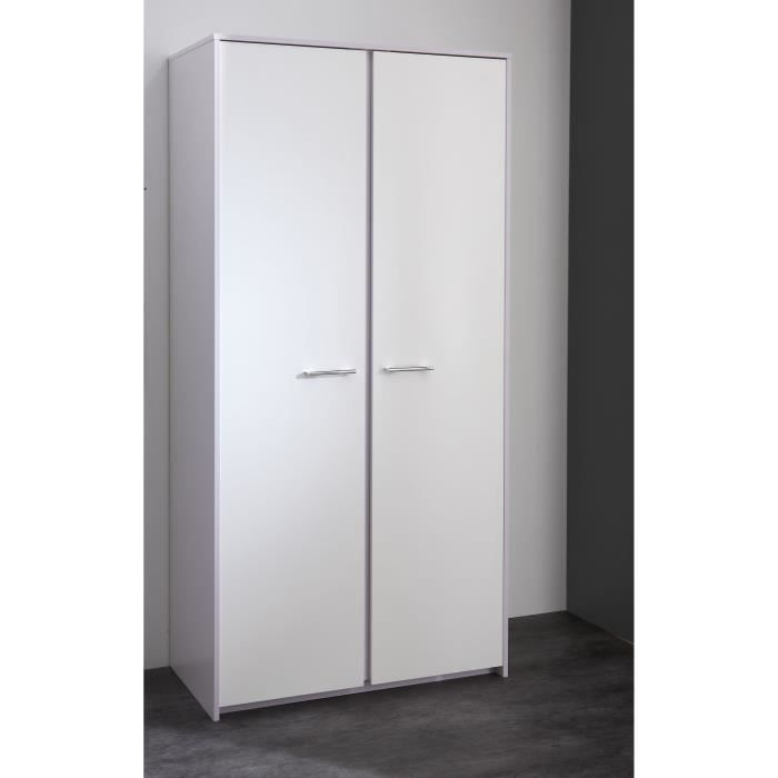 LINA Armoire 2 portes blanc/parme - Achat / Vente armoire de chambre ...