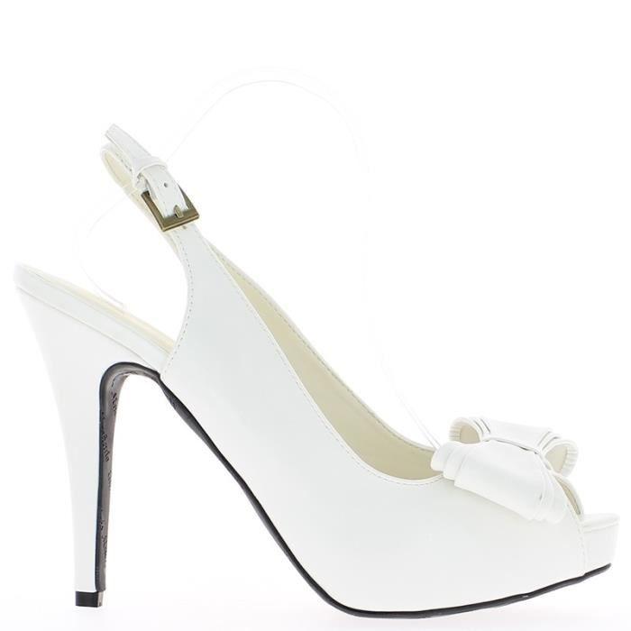 Sandales blanches grande taille à talon de 14cm et plateforme avec noeud rI3oZr