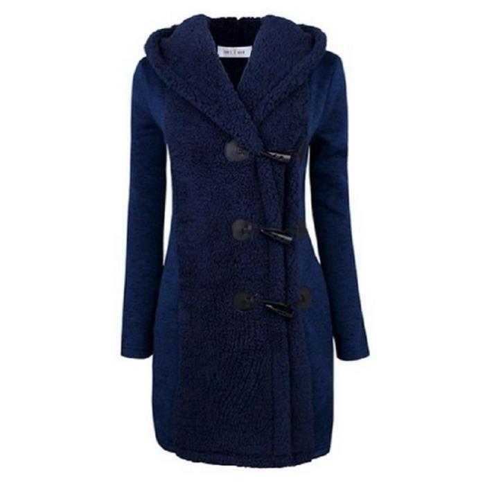 Bleu Femme Gris Long Manteau A Capuche bleu noir 44ygAqHB
