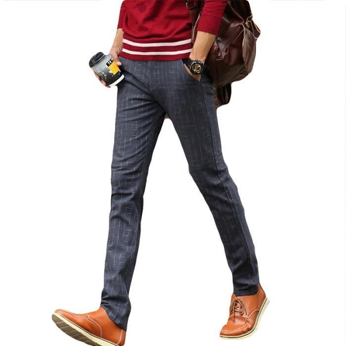 905021614d8c Pantalon Homme a carreaux Mode Casual Pantalon Hommes slim Droit VêTement  Masculin- Noir