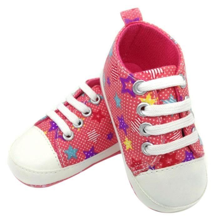 BOTTE Chaussures de bébé Sneaker Anti-slip Semelle souple Toddler Toile colorée chaussures@Rose rougeHM eGH8M8Yiu