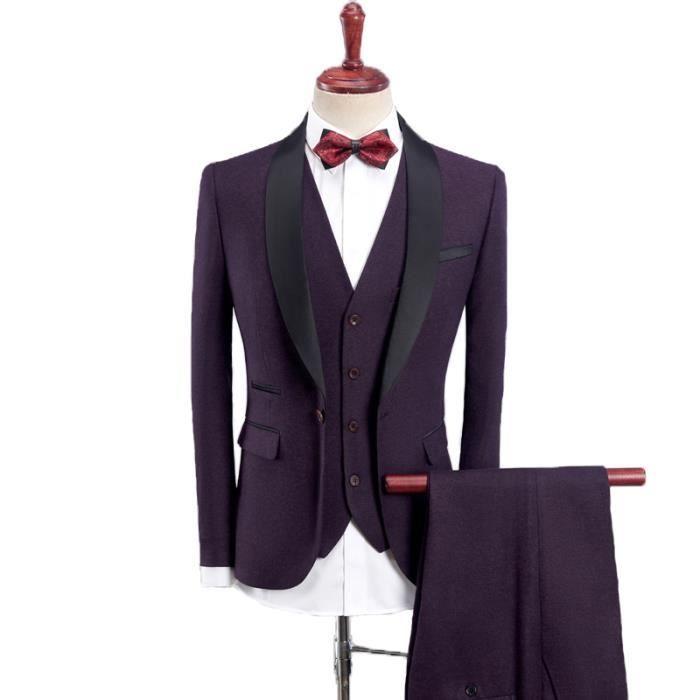 Homme Costume 3 Pièces (Blazer Gilet Pantalon) Deguisement Tuxedo Dîner  Nouveau Marié Carnaval Smoking Uniforme Business Mariage dc46c6007f6