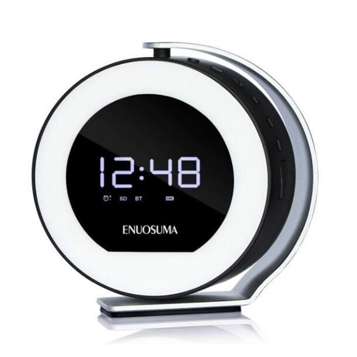 Radio-réveil Numérique Avec Haut-parleur Bluetooth Horloge De Bureau Veilleuse Rechargeable